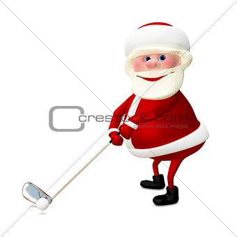 3D Illustration of Santa Claus Golfer