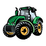 colored vector tractor pattern on farm background