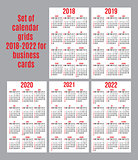 vector set of calendar grid for years 2018-2022 for business cards on white background