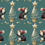 Cute Penguin in a hat and Christmas tree. Seamless, pattern.