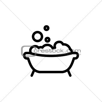 Baby bath thin line icon. Outline symbol bath with foam and bubbles for the design of children's webstie and mobile applications. Outline stroke kid bathing pictogram