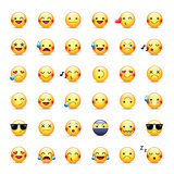 Smileys vector icon set. Emoticons pictograms. Happy, merry, singing, sleeping, ninja, crying, in love and other round yellow smileys. Large collection of smiles