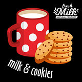 Milk and cookies vector icon. Chocolate cookies and a red cup of hot milk vector