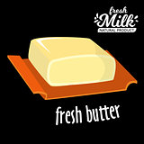 Brick Of Butter On Plate, Milk Based Product Isolated vector Icon