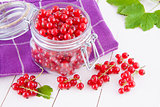 Red currants in a jar