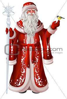 Russian santa claus holds staff and tit. Christmas national retro clothes russia