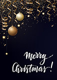 Vector Christmas background with gold serpentines, glitter, confetty and cristmas balls on a dark background.