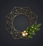 Geometric gold metallic Christmas wreath with light bulbs, green pine or fir tree branches and xmas balls. Vector template, space for text.
