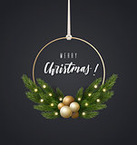 Fashionable decoration with spruce branches and Christmas balls. Christmas wreath, vector illustration.