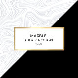 Trendy geometric card or flyer design wiht contrast shapes, marble texture, gold frame and space for text. Vector illustration.
