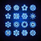 Christmas Neon Snowflakes Blue Magic