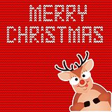 Christmas Reindeer. Cute and funny character Deer. Christmas card. Vector illustration.