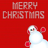 Cute and funny Christmas card. Character snowman. Vector illustration.