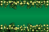 Fir Branch with Neon Lights on Green Background.