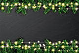 Fir Branch with Neon Lights on Chalkboard Background.