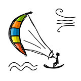 Kiteboarding, sketch for your design