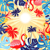 Tropical background with leaves and flamingo
