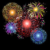 Magnificent graphics of multi-colored fireworks