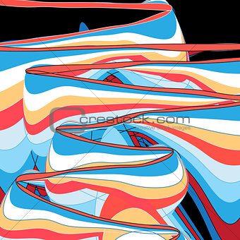 Abstract multicolored linear waves background