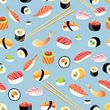 Seamless bright pattern with different sushi