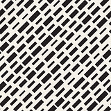 Black and White Irregular Dashed Lines Pattern. Modern Abstract Vector Seamless Background. Chaotic Rectangle Stripes Mosaic