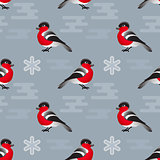 Vector  winter seamless pattern. Include bullfinch and snowflake