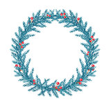 Decorative watercolor Christmas wreath