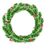 Decorative watercolor Christmas wreath.