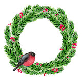 Watercolor Christmas wreath with bullfinch