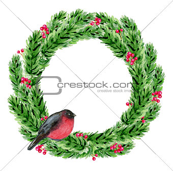 Watercolor Christmas wreath with bullfinch