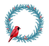 Watercolor Christmas wreath with cardinal