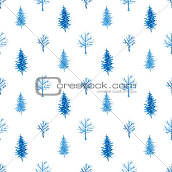 Watercolor winter pattern with tree