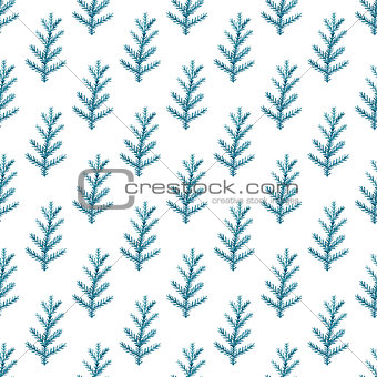 Watercolor seamless pattern with fir branch