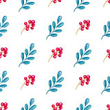 Pattern with branch and red berry