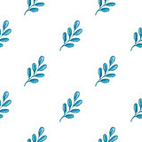 Seamless pattern with blue branch