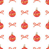 Christmas seamless pattern with red decorations