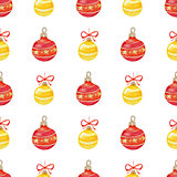 Christmas pattern with red and yellow decorations
