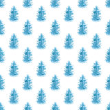 Watercolor seamless pattern with blue fir trees