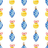 Christmas pattern with blue and yellow decorations
