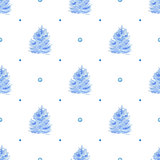 Pattern with blue fir trees and snow