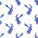 Watercolor pattern with silhouettes of deer