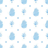 Watercolor seamless pattern with blue trees