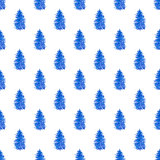 Seamless pattern with blue fir