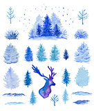 Blue watercolor Christmas design elements