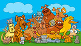 cartoon dog and cats pet characters group