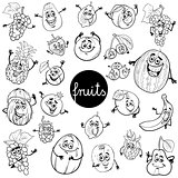 cartoon fruits characters set color book