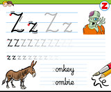 how to write letter Z worksheet for kids