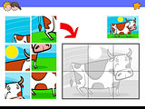 jigsaw puzzles with cow farm animal