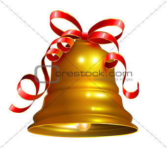 Golden bell with red ribbon symbol accessory christmas