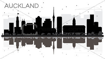 Auckland New Zealand City skyline black and white silhouette wit
